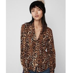Express Leopard Fitted Tie Neck Shirt XS